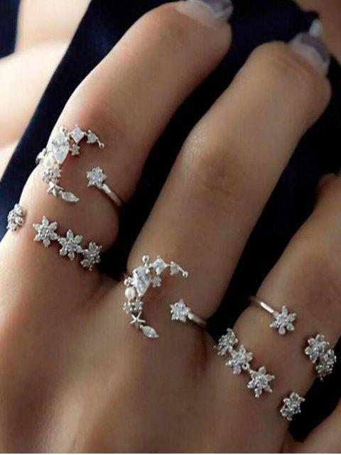outfit Rhinestone Decor Star Moon Cuff Rings Set - SILVER  Mobile
