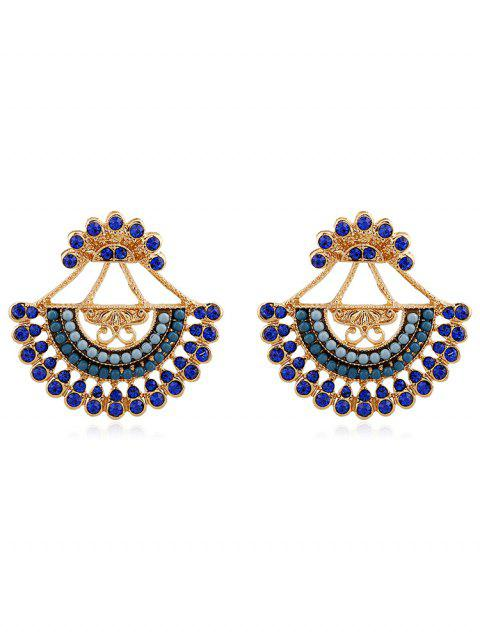 chic Rhinestone Inlaid Beaded Stud Earrings - GREENISH BLUE  Mobile