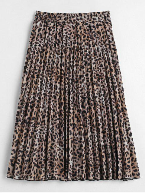 fancy Leopard Print Pleated Midi Skirt - LEOPARD L Mobile