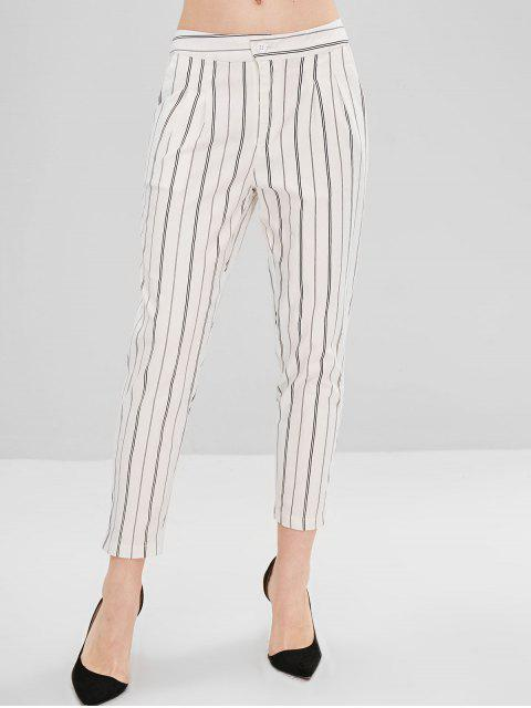 outfits Straight Pockets Stripes Pants - WHITE L Mobile