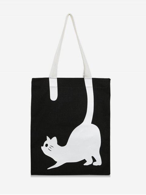 latest Cat Printed Canvas Tote Bag - BLACK  Mobile