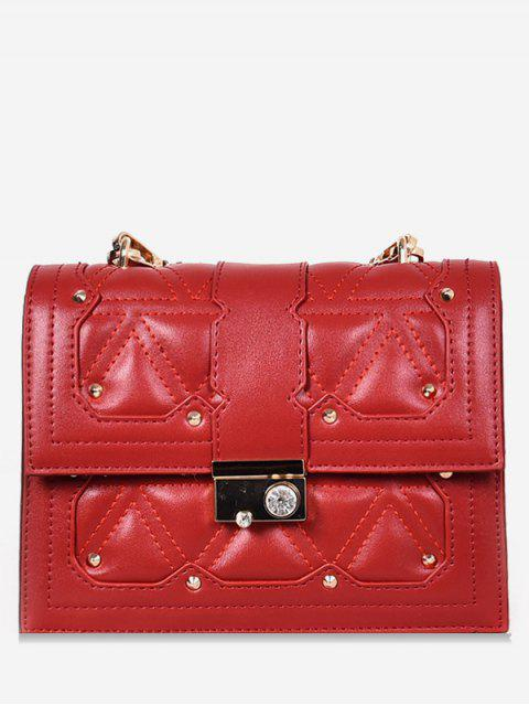 women's Artificial Crystal Design Cover Crossbody Bag - RED  Mobile