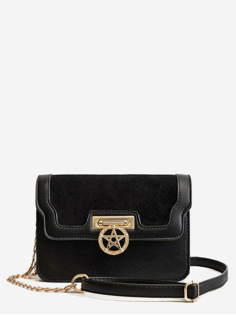 lady Star Shape Metal Lock Crossbody Bag - BLACK  Mobile