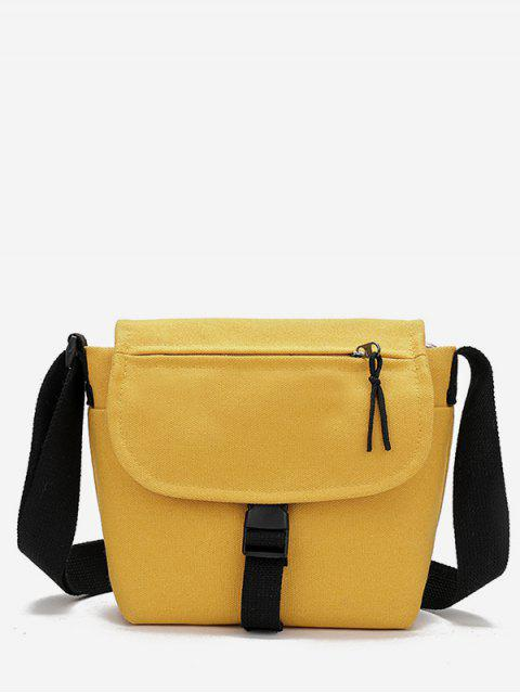 affordable Canvas Hasp Design Student Crossbody Bag - CORN YELLOW  Mobile