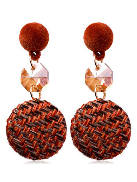 shop Button Design Knitted Drop Earrings - MAROON  Mobile