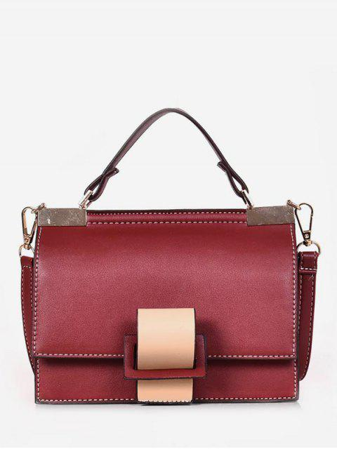 womens Color Block Cover Design Tote Bag - RED WINE  Mobile