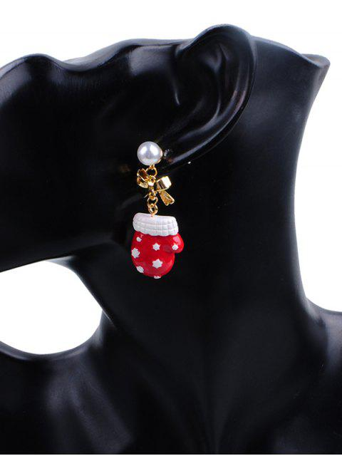 outfits Faux Pearl Decor Glove Christmas Earrings - MULTI  Mobile