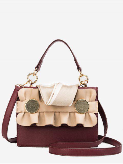 womens Wave Shape and Scarf Design Handbag - LAVA RED  Mobile