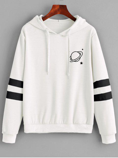 chic Contrast Stripes Panel Planet Graphic Hoodie - WHITE XL Mobile
