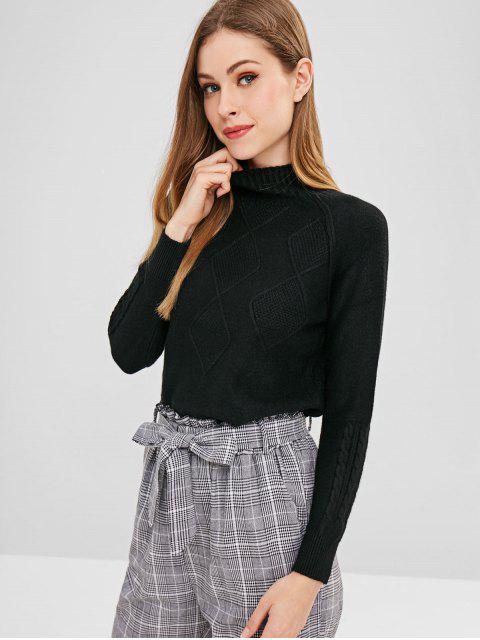 Mock-Neck-Pullover - Schwarz Eine Größe Mobile