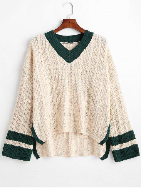 Cable Knit V-Ausschnitt übergroßen Preppy Sweater - Blanchierte Mandel Eine Größe Mobile