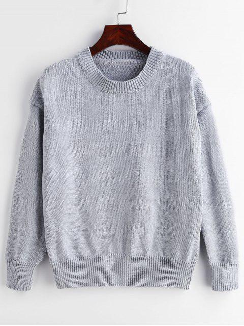 Suéter de cuello redondo liso suéter - Gris Claro Talla única Mobile