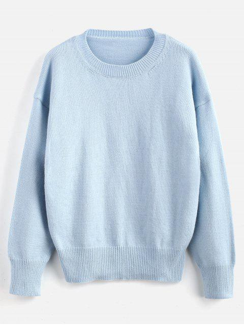 Suéter liso con cuello redondo - Azul Claro Talla única Mobile