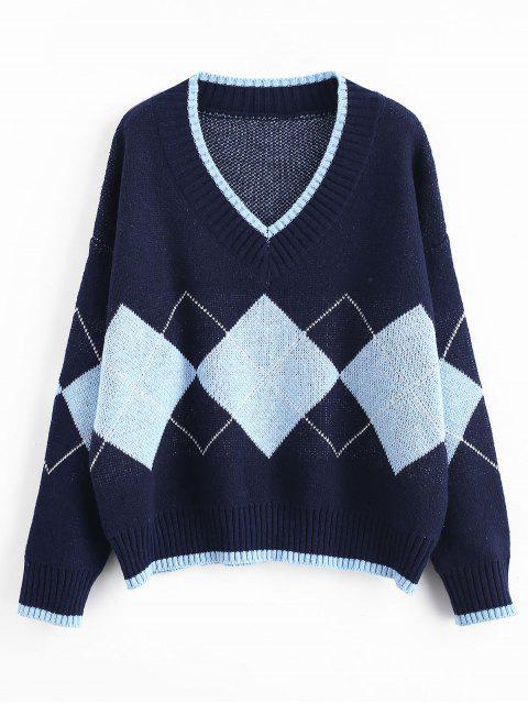 Suéter de cricket de patrón rombo - Cadetblue Talla única Mobile