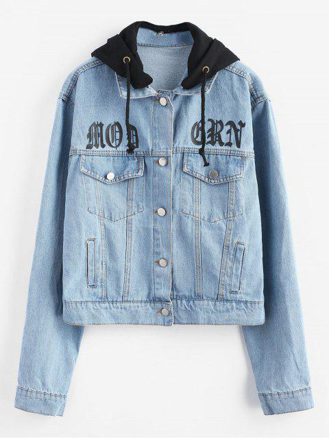 Abnehmbare Kapuze mit Knopfleiste und Jeansjacke - Jeans Blau S Mobile