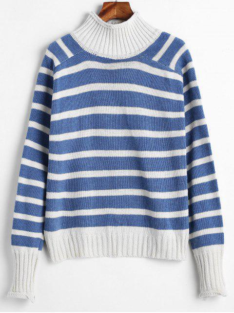 Two Tone Gestreifte Trichter Boxy Sweater - Multi Eine Größe Mobile