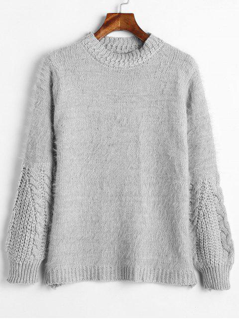 Flauschiger Zopfstrick-Mixed Sweater - Hellgrau Eine Größe Mobile
