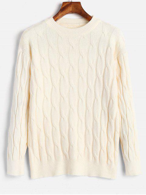 Suéter básico de tejido de cable - Blanco Cálido Talla única Mobile