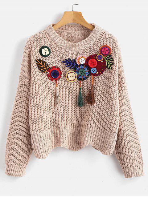 Boxy verschönert Chunky Sweater - Aprikose Eine Größe Mobile
