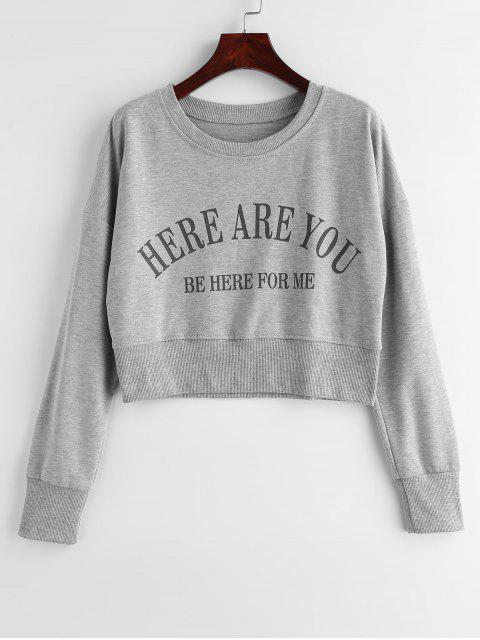Cropped Graphic Drop Schulter Sweatshirt - Graue Wolke M Mobile