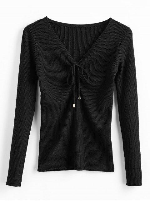 Pullover mit V-Ausschnitt - Schwarz Eine Größe Mobile