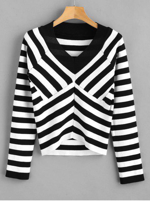 Suéter de manga raglán a rayas de Chevron - Multicolor Talla única Mobile