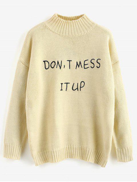 Buchstabe Graphic Mock Neck Sweater - Cornsilch Eine Größe Mobile