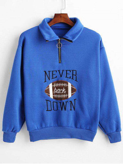 Sweatshirt mit Reißverschluss aus besticktem Fleece - Blau L Mobile