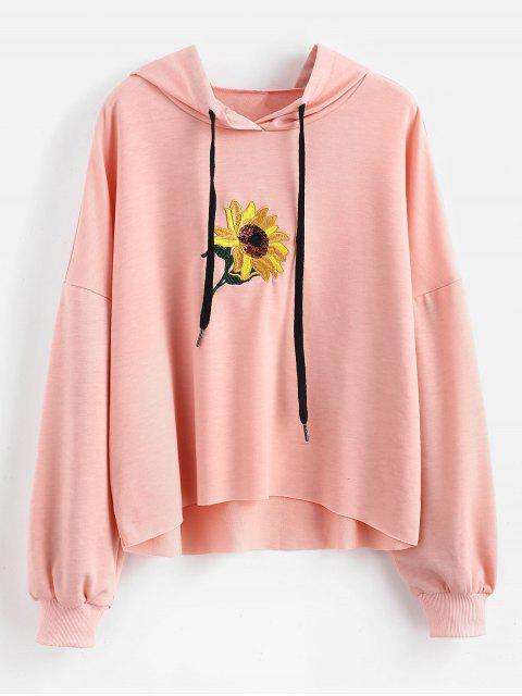 Sudadera bordada flor de lentejuelas - Rosado M Mobile