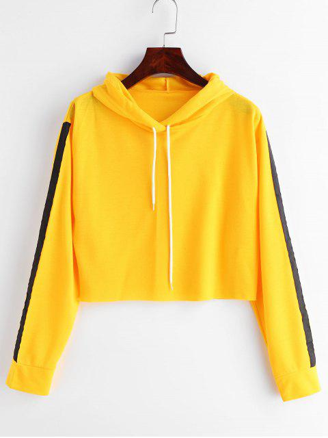Cintas de contraste parcheado con capucha recortada - Amarillo Brillante M Mobile