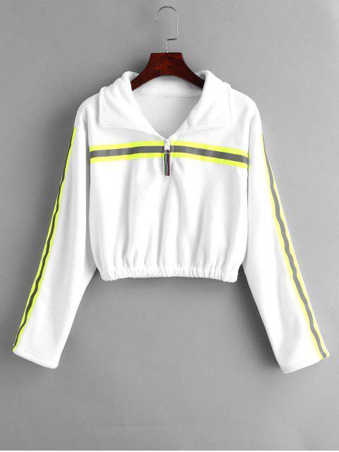 Half Zip-Streifen abgeschnitten Sweatshirt - Weiß M Mobile