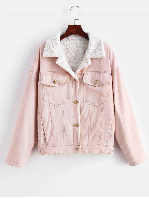 Caída de hombro chaqueta de mezclilla de lana - Rosado L Mobile