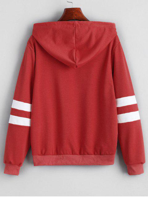 best Contrast Stripes Panel Planet Graphic Hoodie - RED WINE XL Mobile