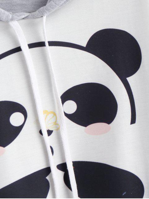 shop Panda Print Cropped Graphic Hoodie - MULTI M Mobile