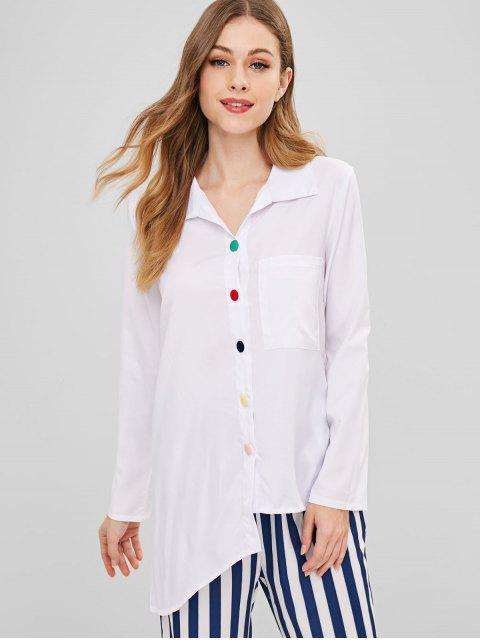 Asymmetrische Tunika Bluse mit Tasche - Weiß S Mobile