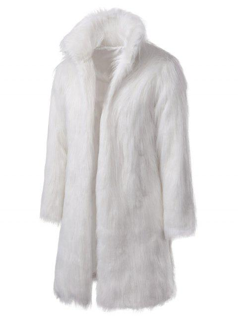 Manteau Long en Fausse Fourrure - Blanc M Mobile