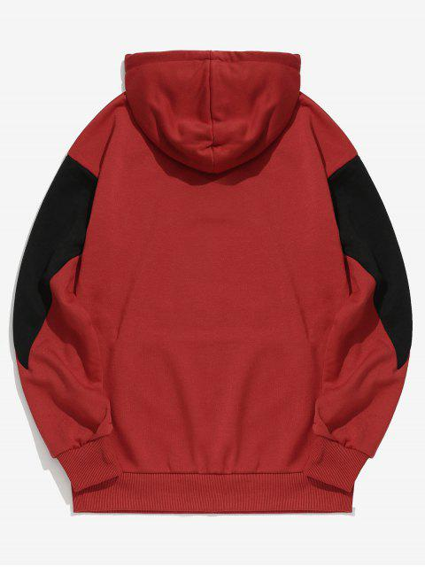 buy Panel Letter Print Hoodie - RED 2XL Mobile