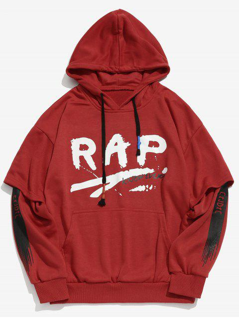 online Letter Pattern Faux Twinset Hoodie - RED M Mobile