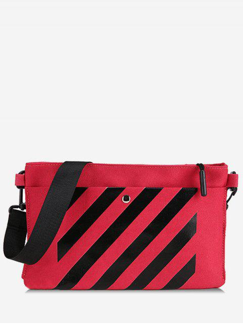 ladies Striped Printed Magnet Hook Crossbody Bag - LAVA RED  Mobile