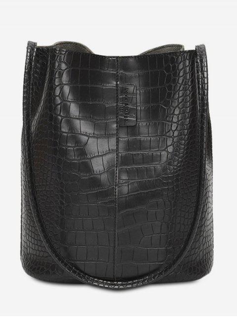 Сумка через плечо Из искусственной кожи С большой емкостью - Чёрный  Mobile