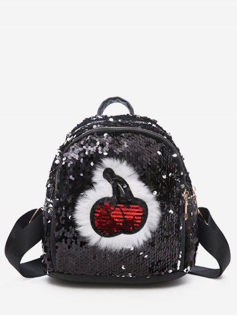 online Cherry Pattern Paillette Zipper School Backpack - BLACK  Mobile