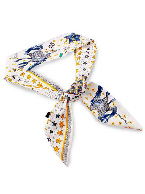 women Bohemian Star Print Elegant Scarf - WHITE  Mobile