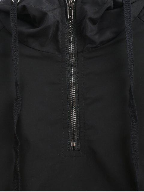 chic ZAFUL Half Zip Letter Patched Hoodie - BLACK L Mobile