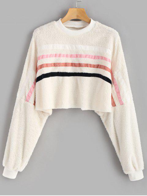 ZAFUL Sweat-shirt Court Fourré Patch Rayé - Beige XL Mobile