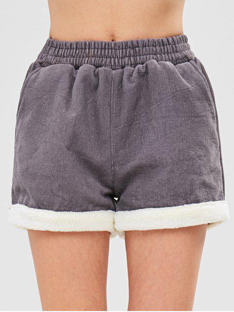Short en velours de laine polaire - Gris L Mobile