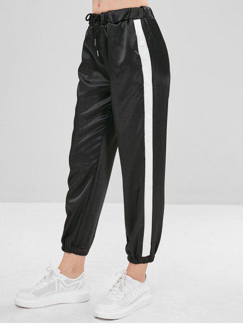 Pantalon de Jogging en Blocs de Couleurs en Satin - Noir L Mobile