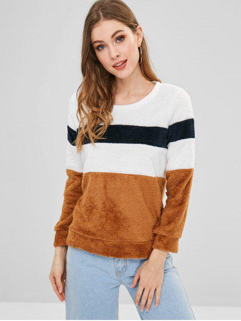 new Fluffy Color Block Sweatshirt - CAMEL BROWN L Mobile