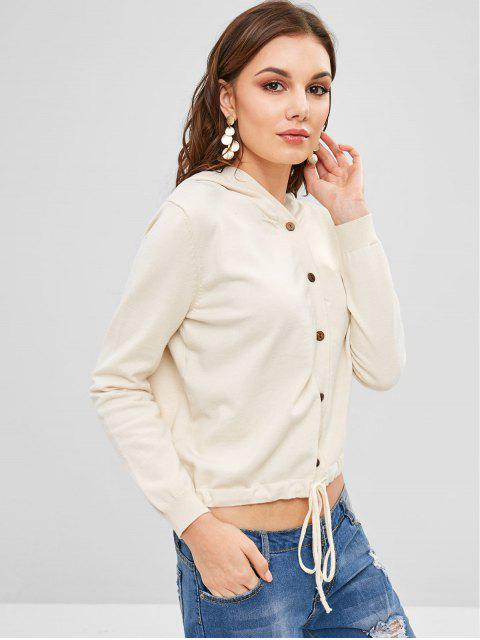 hot Hooded Drawstring Button Fly Cardigan - WARM WHITE ONE SIZE Mobile