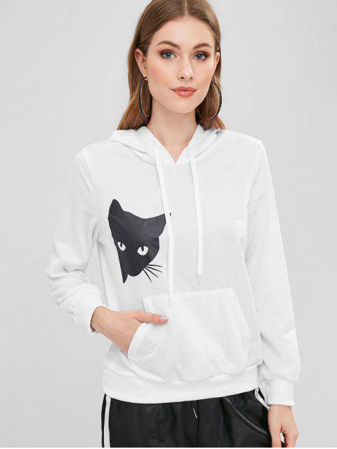 buy Cat Graphic Pocket Pullover Hoodie - WHITE L Mobile