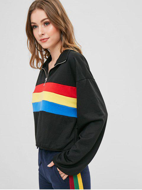 women Color Block Pullover Zip Sweatshirt - BLACK S Mobile